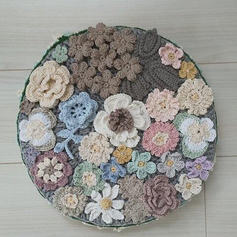 💙新作お花いっぱい飾りクッション💙