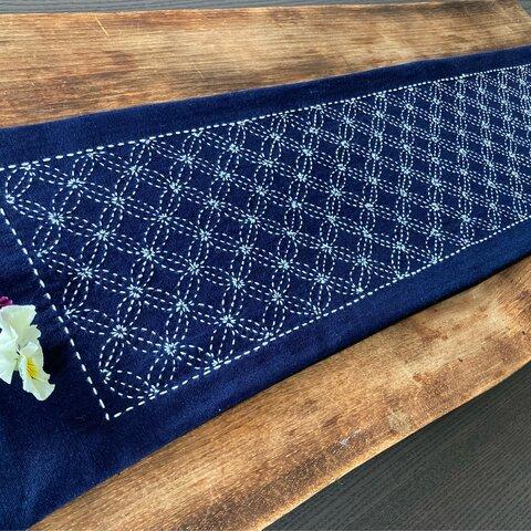 藍染 七宝花刺しのテーブルセンター