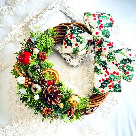 『早割クリスマス2021』  手作りキット*フレッシュのヒバが香るhappy Merryクリスマスリース