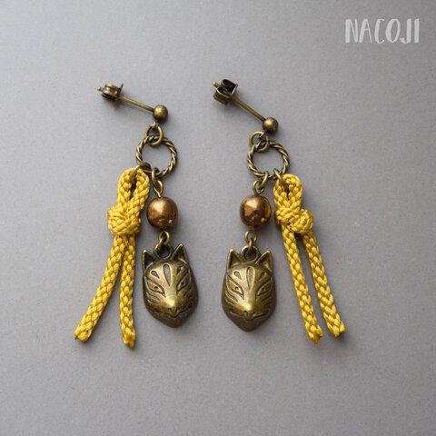 【一点】狐面と絹紐の和風ピアス カラシ