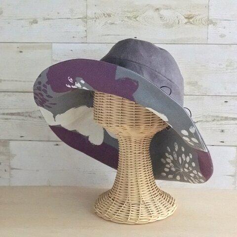 夏のお花のキャペリーヌ・ダークグレー×紫×白