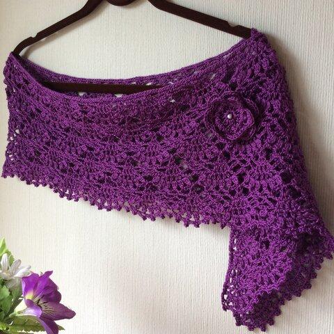 *かぎ針編み*紫のストール*バラのブローチ付き