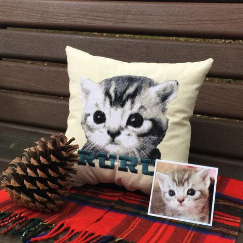 【オーダーメイド】愛犬❤︎愛猫可愛さそのまま刺繍クッション 30cm×30cm