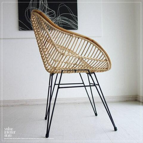 インベロップチェアN ラタンチェア イス 椅子 鉄脚 手作り 手編み 籐 新品 ナチュラル 天然素材 ラタン家具 リビングチェア 送料無料