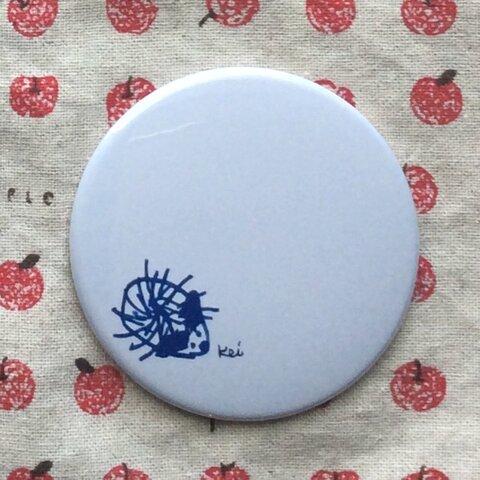 ほっこりかわいい Keiちゃんイラスト缶ミラー 『ハリネズミ』グレー