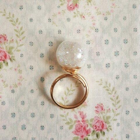 ガラスドームキラキラ指輪