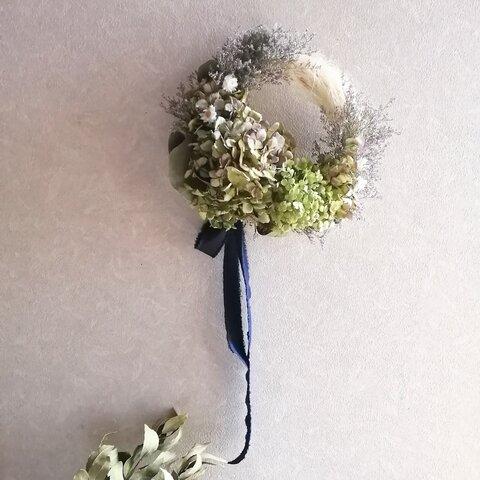 【Natural系リースL】ブルーファンタジーと紫陽花・ユーカリのブルー&グリーン系ナチュラルテイストリース