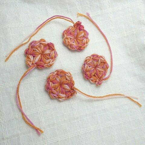 オレンジ+ピンク お花のガーランド 8個セット