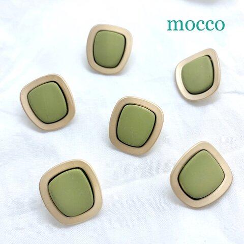 4個*20㎜×18㎜ ボタン コートボタン シャンクボタン カボション マットゴールド 深緑 モスグリーン