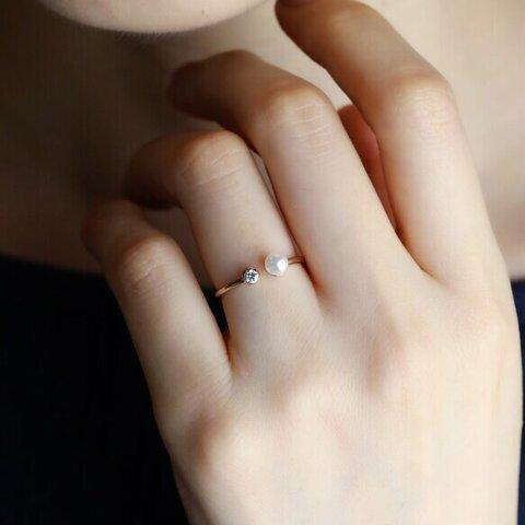 〈10金・18金・プラチナ〉パールフォークリング(ダイヤモンドorモアサナイト)指輪 〈VR079〉