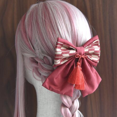 2way和柄リボン【朱音】ブローチ&髪飾り