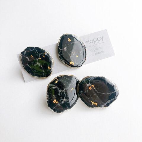 BLK大理石みたいなアゲートスライスピアス(イヤリング) ニッケルフリー