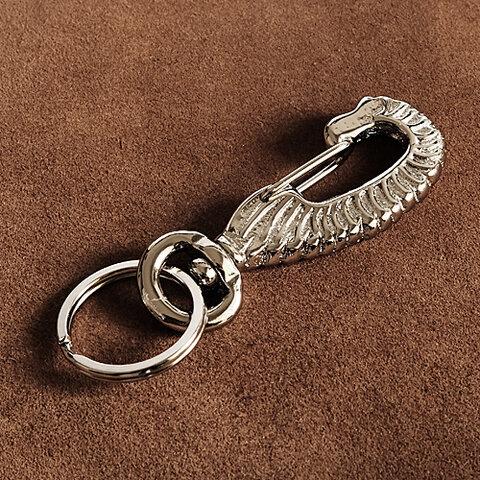 真鍮 シルバードラゴンカラビナ キーホルダー (リング1個)銀色 キーフック キーチェーン ブラス ダブルリング ナスカン 龍 干支 メンズ