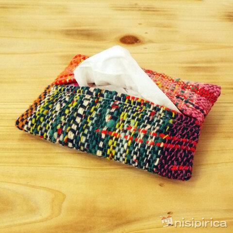 手織りのティッシュケース(001D)