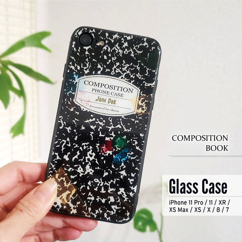 「コンポジションブック風」背面ガラスケース(iPhoneのみ対応)#sc-glass-0087【受注生産・通常5~6営業日発送】