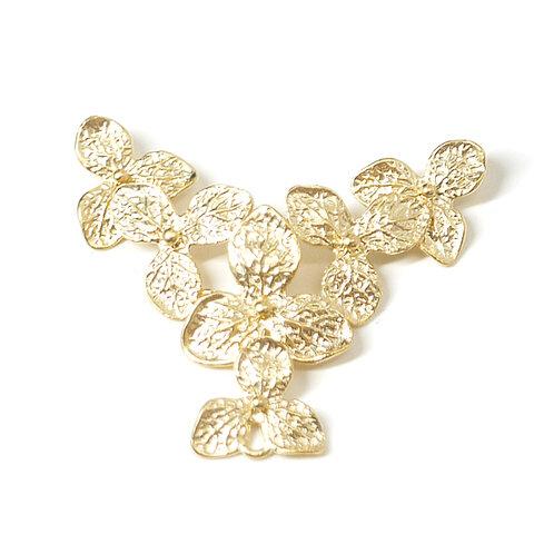 Minne限定【1個】6つの花びらが繋がったデザインのマットゴールドコネクターチャーム