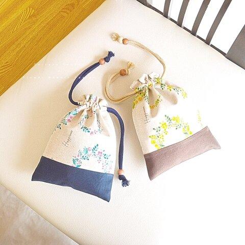 ・. 大人の巾着袋 Flower 花柄 design .・. #大人 #ギフト