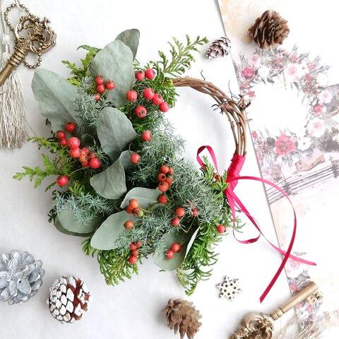 【秋冬限定】野ばらの実の小さなハーフリース クリスマス Xmas