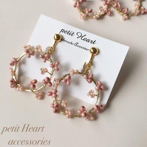 しあわせピンクの桜リースイヤリング(ピアス)♡