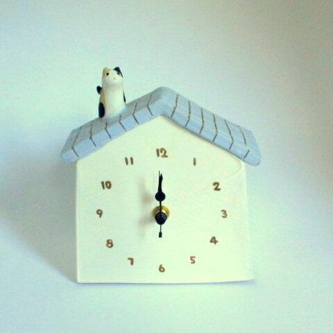 中林由香梨 猫とお家の置時計*ラベンダー