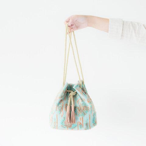 金華山巾着 <ミントピンクのフラワー柄>  2Way ショルダー バッグ パイルジャカード織り