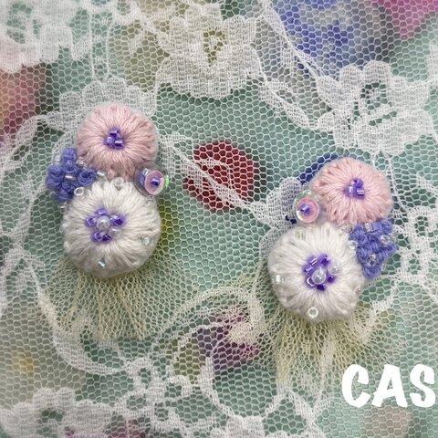 花刺繍の詰め合わせピアス