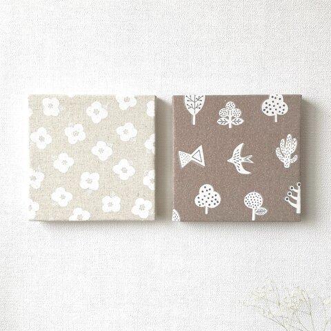 北欧 * ファブリックパネル 白いお花と北欧モチーフ