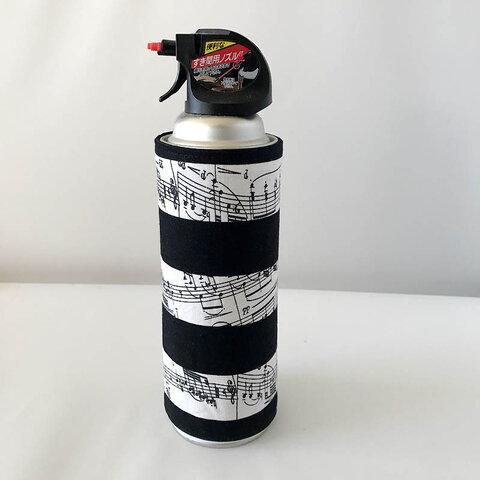 スプレー缶カバー 直径6.5cm用〔音符 ボーダー〕