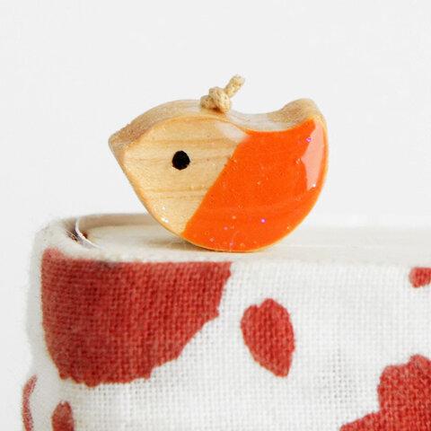 木製しおりどりカラー オレンジ(ブックマーカー)