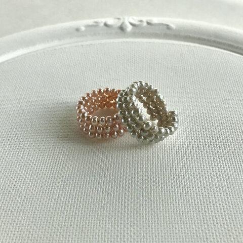 本真珠!可愛いベビーパールの繊細な3連リング