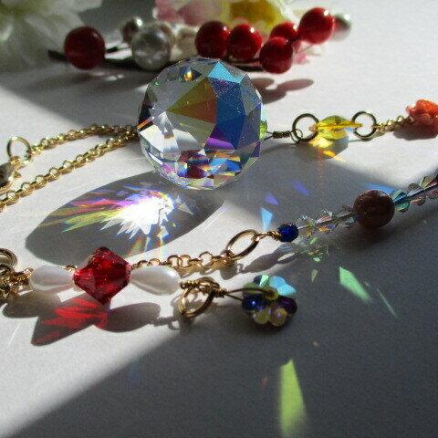 オーロラの光と小さなバラ・ASFOUR 30㎜・スワロフスキーLtトパーズシマー・人工コーラルの薔薇・母の日・プレゼントに (10)