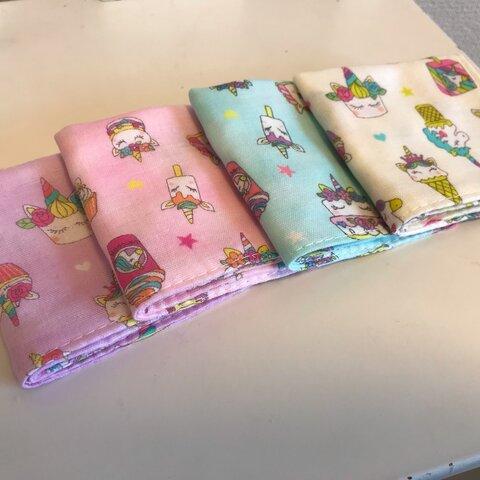 【受注製作☆送料無料】ガーゼハンカチ 16×16 お菓子とユニコーン 4枚セット