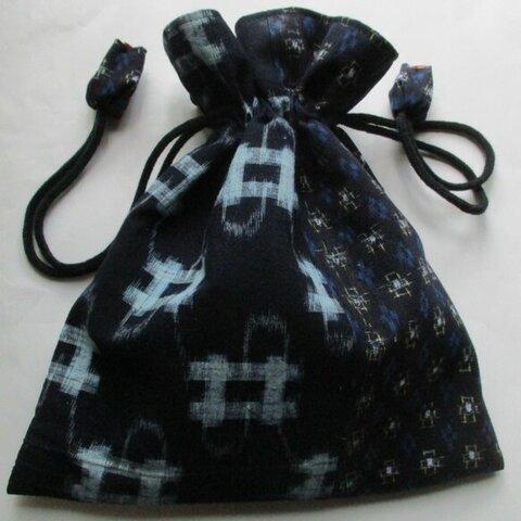 5907 絣で作った巾着袋    #送料無料