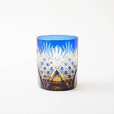 江戸切子 送料無料 無料包装 結婚祝 海外土産 記念品 還暦祝 古希祝 結婚祝 琥珀色瑠璃被せロックグラス(籠目模様)ウィスキーグラス 焼酎グラス
