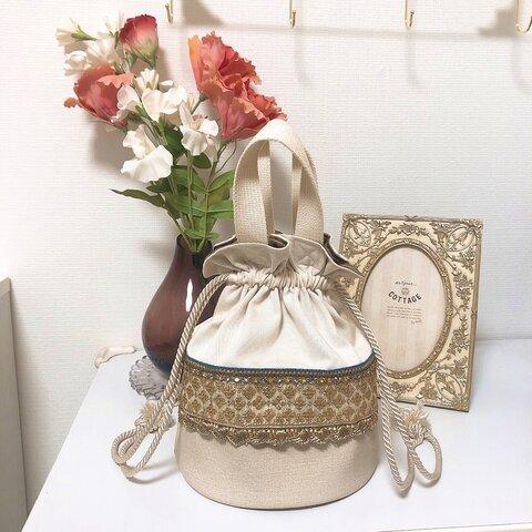 《C-3》白×青金 合皮異素材 丸底巾着バッグ