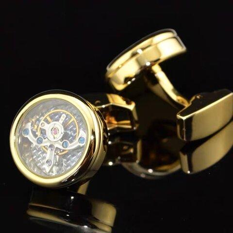 新品★精密機械時計ピンクゴールドムーブメント高級カフスボタン収集価値カフリンクス