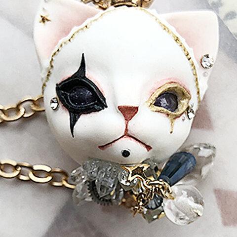 ビスク製/ピエロメイクの猫 ネックレス