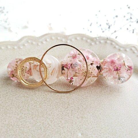 ピンク ♡ スターフラワー ・ アリッサ の ドライフラワー 入り レジンヘアクリップ