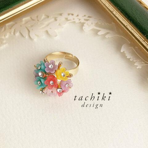 お花のボタンの指輪 11号