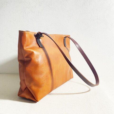 A4サイズ対応高級牛革イタリアンレザーカジュアルなトートバッグ茶色/ハンドバッグ