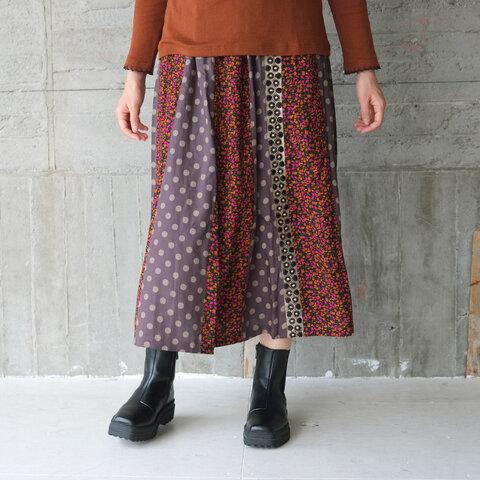 花柄×水玉パッチワークロングスカート(21w-15)オレンジ×ピンク