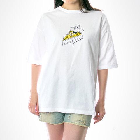 ネコぱん夏のレモンタルト ビッグTシャツ ホワイト ユニセックス(メンズ/レディース) Sサイズ
