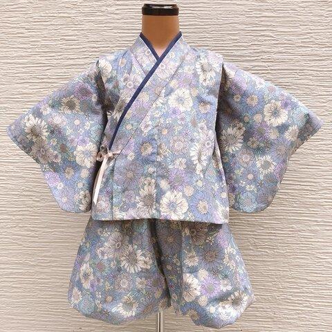 【80】甚平  ベビー甚平 子供甚平 バルーンパンツ 夏祭り 夏服 和服 着物 袴 男女兼用