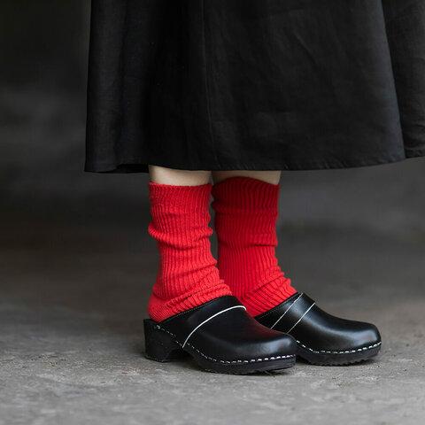 リサイクルコットン 細リブ編み靴下 (レッド)  ※ギフトラッピング無料