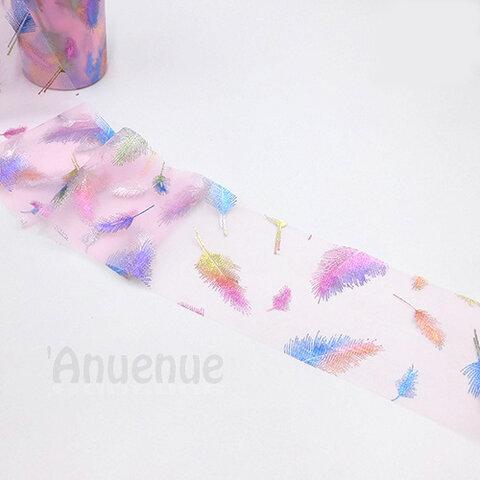 フェザーチュールリボン【 Pink x Rainbow feather】80mm×2m