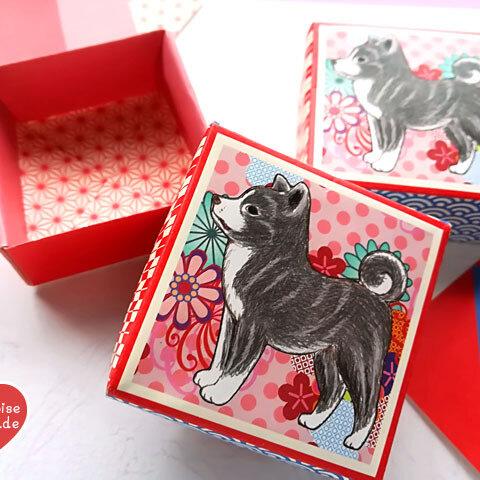 和犬ころころ折り紙 BOX【37105】小さな箱が折れる折り紙セットです。全部で10個の箱が作れます。