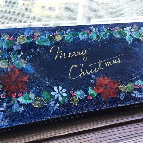 ꧁𐬹Merry Christmas𐬹꧂ポインセチア 柊 トールペイント