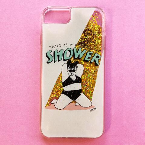 シャワーを浴びる女子【グリッターケース】ゴールド