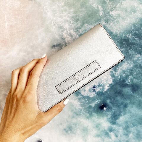 【Twinkle Silver】牛革の薄い長財布 シルバー silver メタリック キラキラ