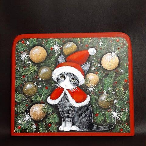 【文字入れ無料】木製クリスマスプレート にゃんこプレート
